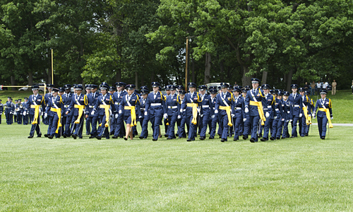 The seniors march onto the parade field during the final military parade.