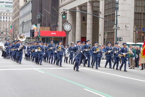 R-MA's military band marches down Fifth Avenue during the 2013 St. Patrick's Day Parade.