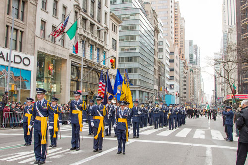 Randolph-Macon Academy's military band prepares to step off during the 2013 St. Patrick's Day Parade in NYC.