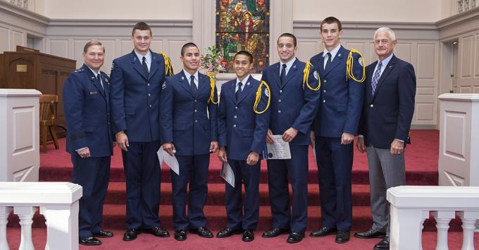 Randolph-Macon Academy's newest Falcon Scholars were recognized during a brief ceremony on Wednesday, August 27, 2014.