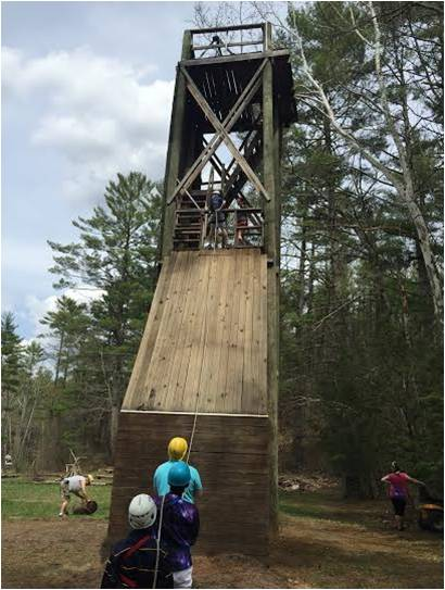 The middle school students participated in many team-building and confidence-building activities.