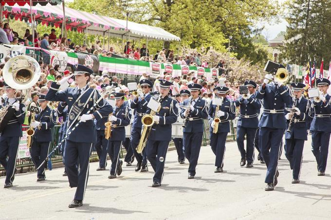 The R-MA band and parade unit won four awards at Apple Blossom this year. In this photo, Will Long of Front Royal leads the band past the grandstand during the Grand Feature Parade.