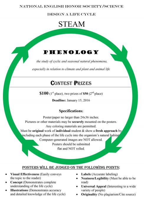 The National English Honor Society and the National Science Honor Society at Randolph-Macon Academy are co-sponsoring a STEAM event, the Phenology (Life Cycle) Poster Contest.