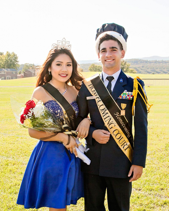 Nataly Perez '17 and Lucas Costa '17 were crowned Homecoming Queen and King during the halftime ceremonies. The R-MA Yellow Jackets defeated MMA 58-6.