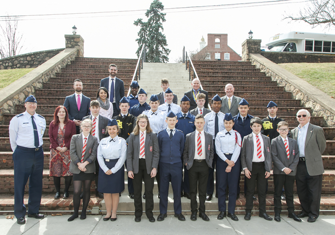 The students from Randolph-Macon Academy and Queen Elizabeth Grammar School gather for an official photo on the R-MA campus.