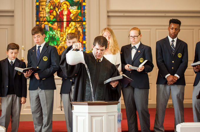 Randolph-Macon Academy Chaplin, Josh Orndorff, concludes Founders Weekend with a service in Boggs Chapel