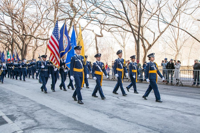 Air Force JROTC cadets from a boarding school in Virginia march in the NYC St. Patrick's Day parade