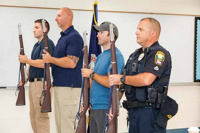 FRPD receives training from Randolph-Macon Academy cadets on color guard maneuvers