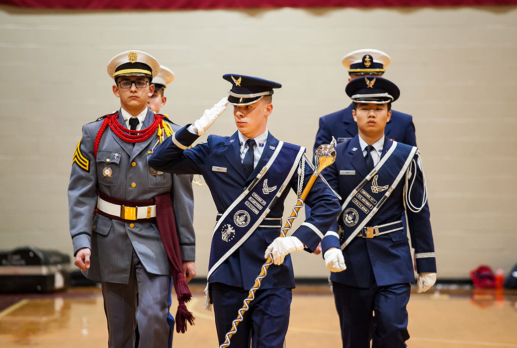 Jacob Gehly '20 of Front Royal won the Gold Medal in the 2018 Military School Band and Choir Festival Drum Major Competition.