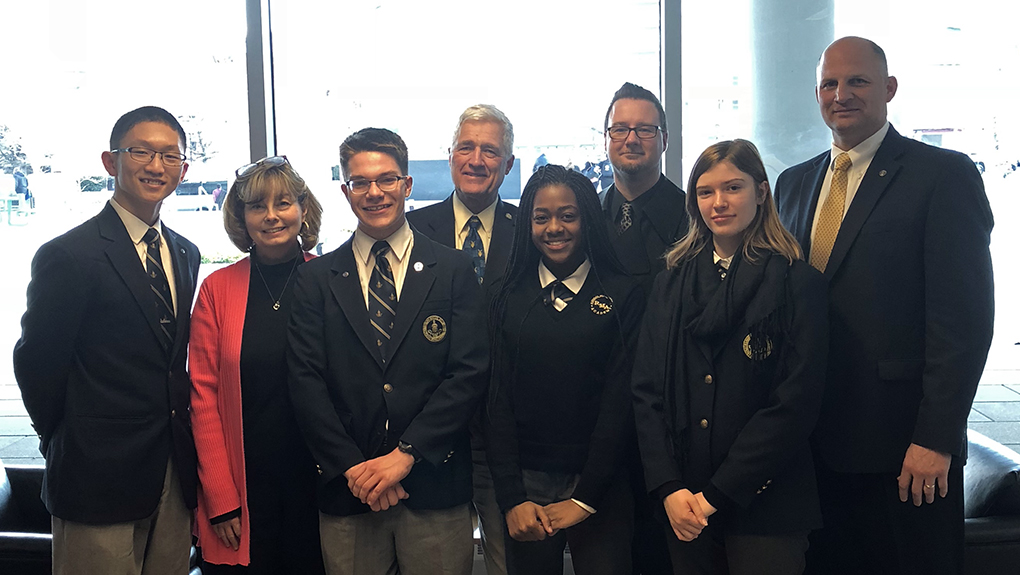 R-MA attendees at the West Point Leadership Conference: Bradley Gao '19, English teacher Lynne Schoonover P'17, Nathaniel Chichester '19, Jim Carter P'10, Khalila Karefa-Kargbo, English teacher Brandon Sloan, Noelle Kramer '19, and Leadership and Character Chair Mike Starling '88 P'19, '23, '24.