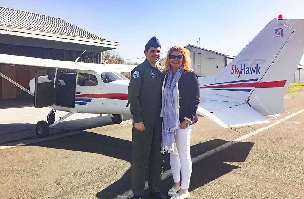 Connor and his mother, Mary Gamma, after Connor's first solo flight. Photo by Todd Davis.