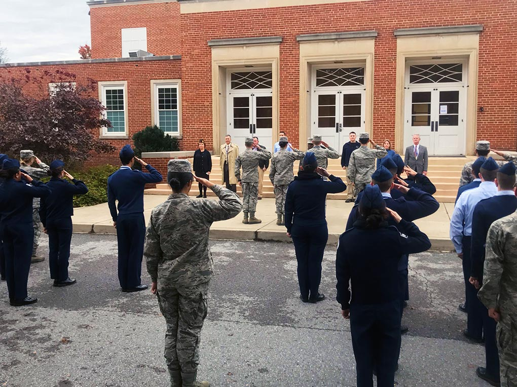 R-MA cadets offer a salute of thanks to the veterans for both their time on November 7th and their years of military service.