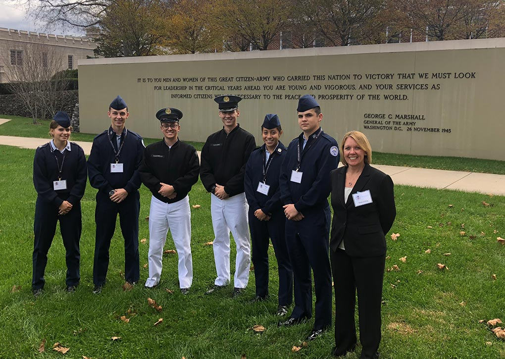 R-MA cadets met up with some R-MA alumni while attending a leadership conference held at VMI. Photo by Mike Starling '88.