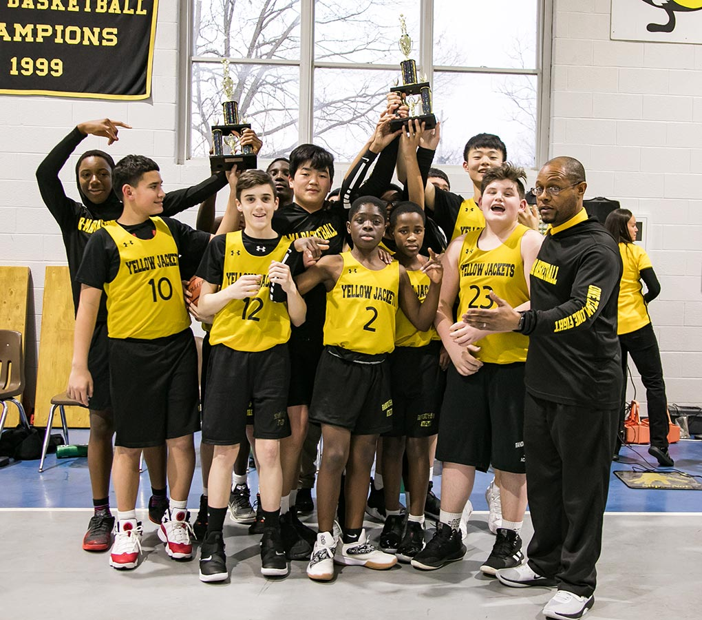 The Middle School Boys' Basketball Team won both the season and the tournament titles in the Valley Middle School Conference.