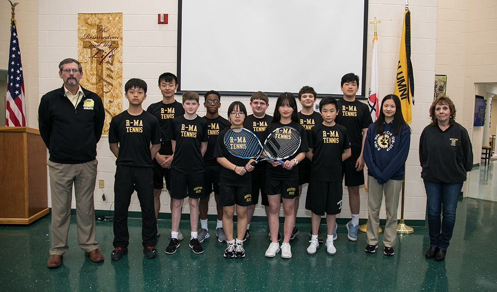 The R-MA Middle School Tennis Team went undefeated in the spring 2019 season, bringing home both the season and tournament championship titles for the Valley Middle School Conference.