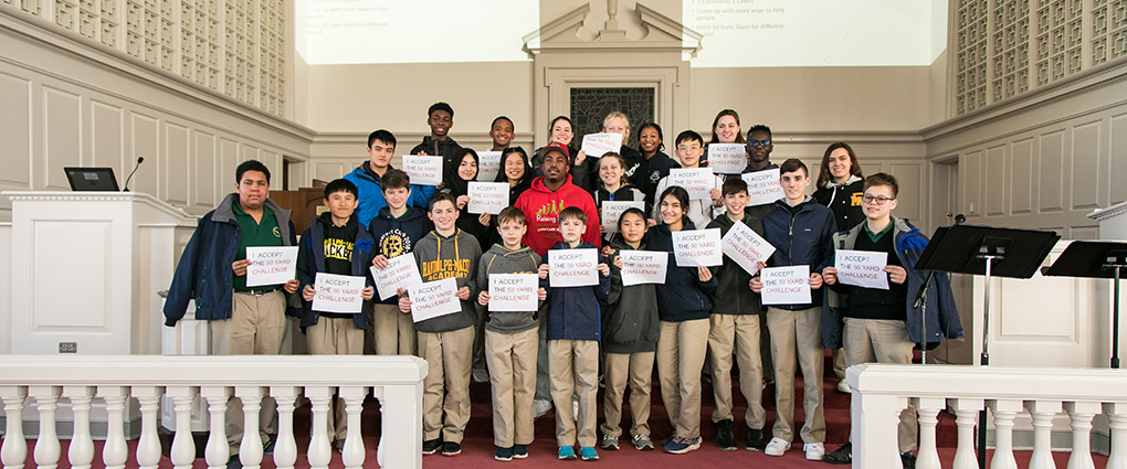 A total of 24 Randolph-Macon Academy students accepted Rodney Smith's 50 Yard Challenge at the end of his presentation on January 21, 2020.
