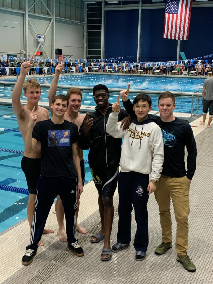 The Randolph-Macon Academy swimmers celebrate their strong performance in the VISAA Division II Championship held on February 1, 2020.