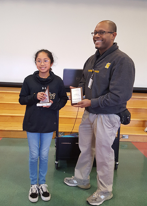 Angelina and her MathCounts coach, Kyle Mackey, were both honored for her second-place finish in the Blue Ridge Chapter Competition. Angelina is a sixth grade student at R-MA, a day and boarding school located in Front Royal, VA.