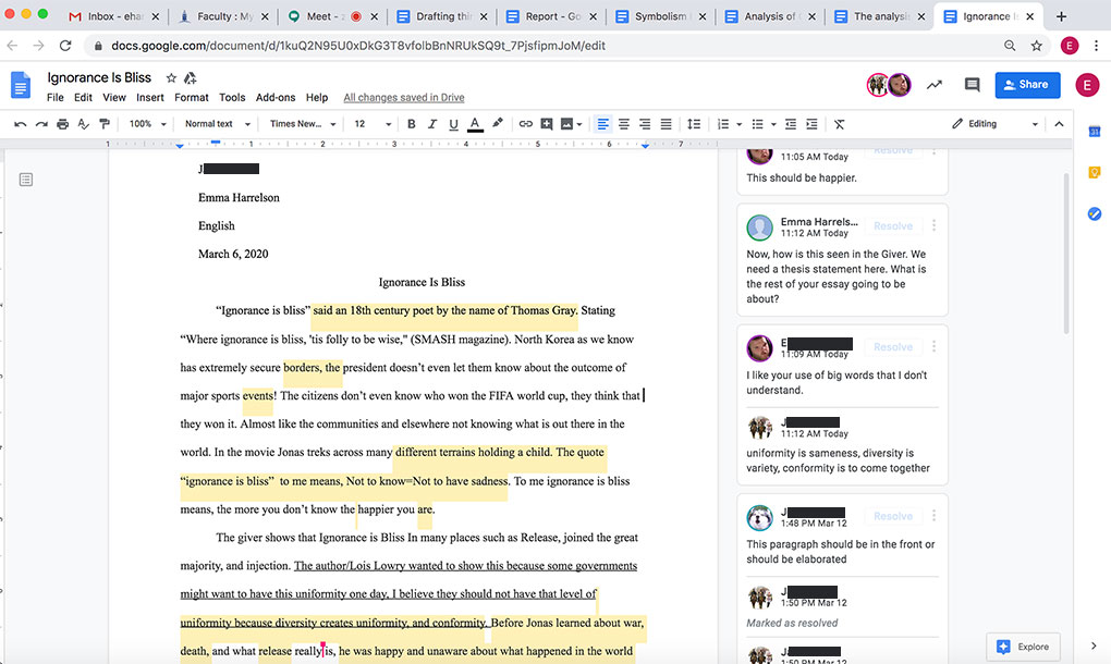 An R-MA Middle School English class reviews a student essay together during the online classes happening in the wake of COVID-19 impacting the U.S.
